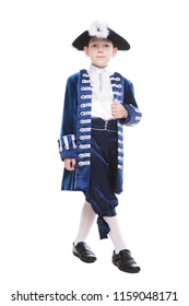 Nice little boy wearing historical clothes. Isolated on white
