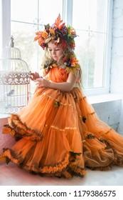 Nice little girl wearing autumn costume posing near the window