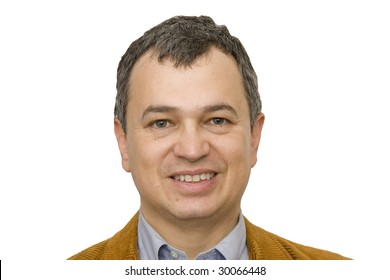 A nice looking middle-aged hispanic man on a white background