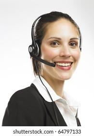 Nice looking telephone operator smiling