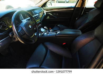 Nice luxury leather interior of passenger car from inside. 26.04.2019-Baku.Azerbaijan