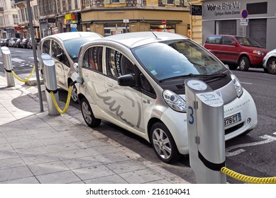 NICE - MAY 1: Electric cars at a charging station on May 1, 2013 in Nice, France.
