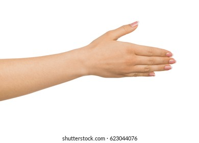 Nice to meet you. Woman offer handshake, outstretched hand with greeting gesture, isolated on white, copy space