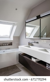 Nice Modern Bathroom With Freestanding Bath, Solid Surface Tablet And Big  Walk In Shower