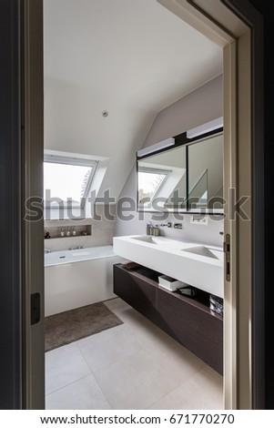 Nice Modern Bathroom Freestanding Bath Solid Stock Photo Edit Now
