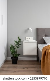 Nice modern bedroom with light walls and a parquet. There is a bed with a pillow and an orange plaid, white nightstand with a book, green plant in a pot, lockers, lamp on the wall. Vertical.
