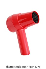 Nice modern red hair dryer isolated on white background. Clipping path is included