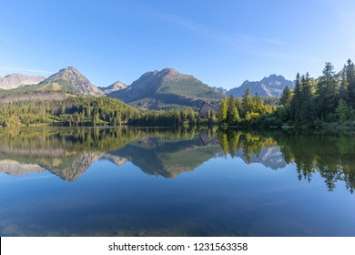 Nice morning landscape with lake in mountains, Slovakia