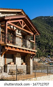 Nice mountain house in a sunny day.