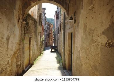 Nice narrow alley from Skradin city in Croatia