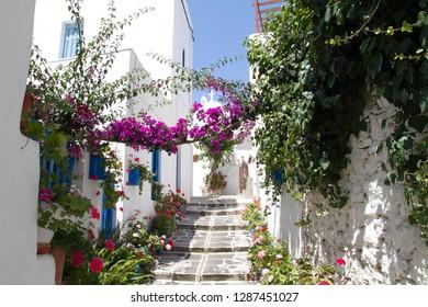 A nice narrow street, Paros island, Greece