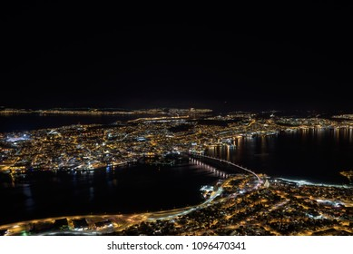 Nice night view on Tromso from the surrounding hills, Tromsø, Norway