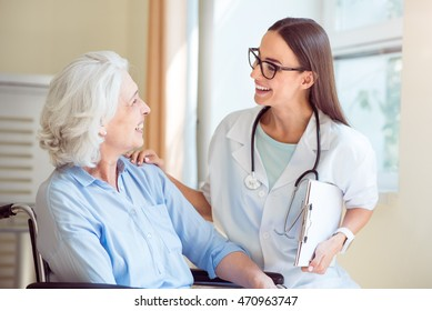 Nice nurse with senior patient