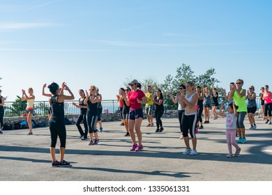 Nice, OCT 20: Many women doing exercise in the Castle Hill on OCT 20, 2018 at Nice, France