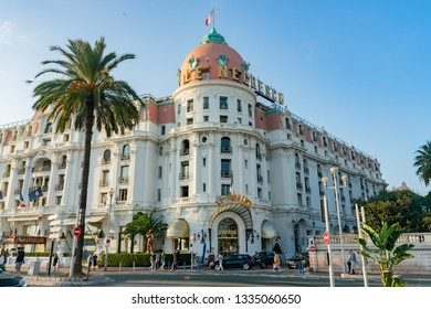 Nice, OCT 21: Afternoon view of the famous Hotel Negresco on OCT 21, 2018 at Nice, France