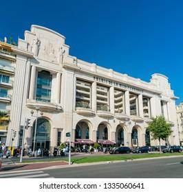 Nice, OCT 21: Exterior view of the Casino du Palais De La Méditerranée on OCT 21, 2018 at Nice, France