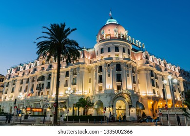 Nice, OCT 21: Twilight view of the famous Hotel Negresco on OCT 21, 2018 at Nice, France