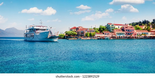 Nice  panoramic view of Fiskardo port. Splendid spring seascape of Ionian Sea. Colorful morning scene of Kefalonia island, Greece, Europe. Traveling concept background.