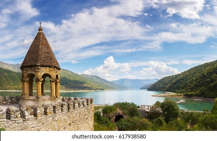 Nice panoramic view of the fortress and church complex Ananuri and reservoir Zhinvali. Georgia