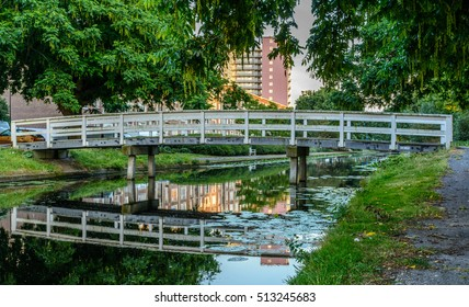 Nice park in the Hague, Holland. The nature park is used by residents living near the park. Photo taken at sunset. Nice reflection in the water.