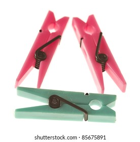 nice pegs isolated on a white background