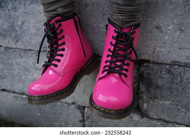 Nice pink punk alternative girl military skinhead shoes or boots - sitting tough