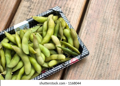 A nice plate of japanese style soy bean edamame