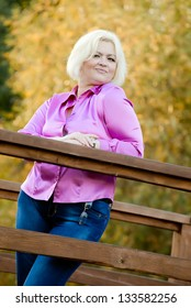 nice plus size girl outdoors. park