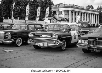 Nice police Chevrolet 1955 old car at Old car land festival Kiev Ukraine october 2018