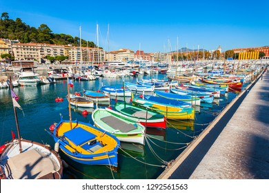 Nice port with boats and yachts. Nice is a city located on the French Riviera or Cote d'Azur in France.