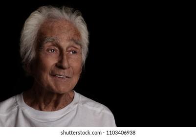 A Nice Portrait Of a senior man On Black