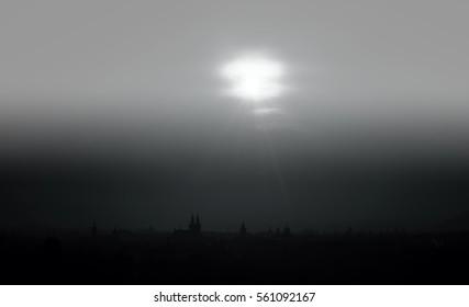 nice prague silhouette in czech republic europe