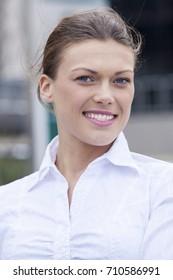Nice pretty mature woman smiling