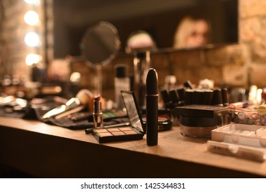 Nice promotional shot for make up school or make up workshop. Make up artistry. Cosmetic industry.