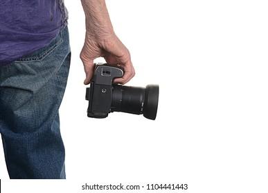 Nice rear shot of a senior Still Photographer isolated On White