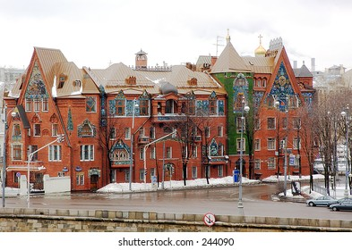 Nice red brick historical building - Moscow, Russia