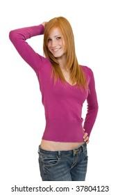 nice redhead woman posing