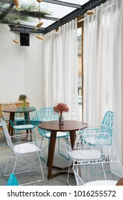 nice restaurant with table and chairs