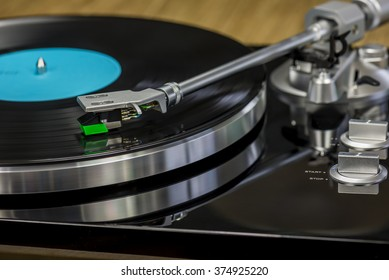 nice retro record player with spinning record