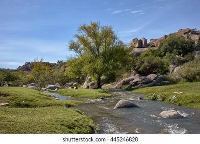 nice river on Capilla del Monte, Cordoba, Argentina, South America. UFO and alien entusistics meetopoint