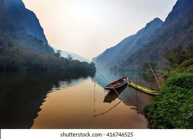 Nice river scenario in a late afternoon in northern Laos, Asia.