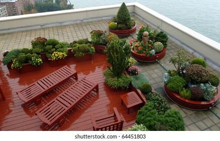 A nice rooftop garden in Manhattan