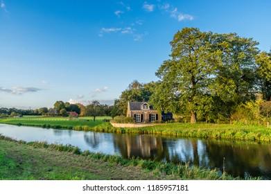 Nice scenery along a canal in the Dutch region Achterhoek, Netherlands