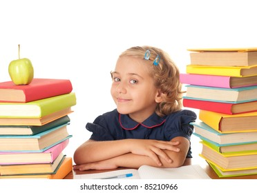 The nice school-girl with the book over white