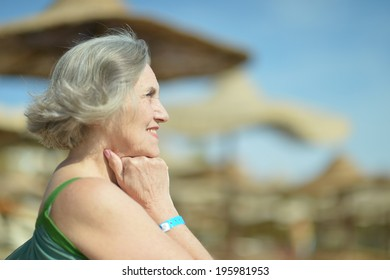 Nice senior woman went to a resort vacation