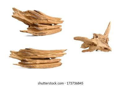 nice shaped driftwood isolated on white background