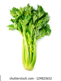 Nice shaped fresh celery with leaves, isolated on white.