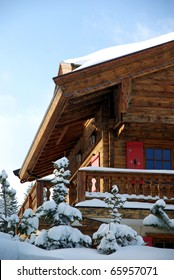 A nice skiing chalet with the evening light.