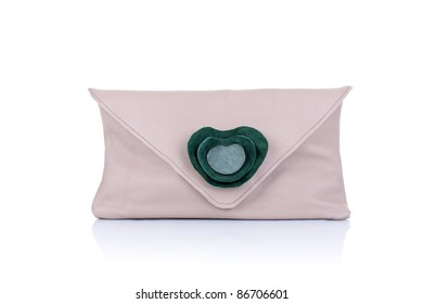 nice small fashion brown purse with flower detail, on a white background