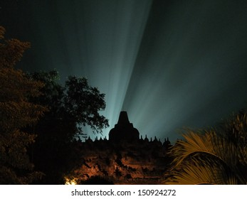 Nice spotlight at Candi Borobudur at night, Central Java, Indonesia